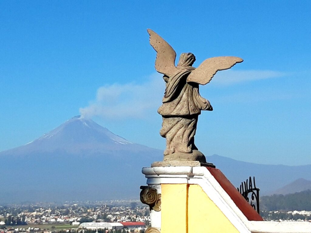 view of the Volcano from one of the Mexican small colonial towns named Cholula