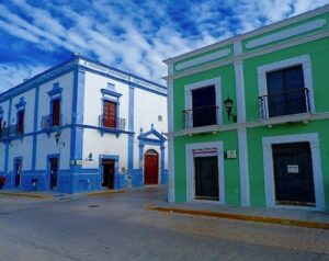 One of Mexican small colonial towns named Campeche